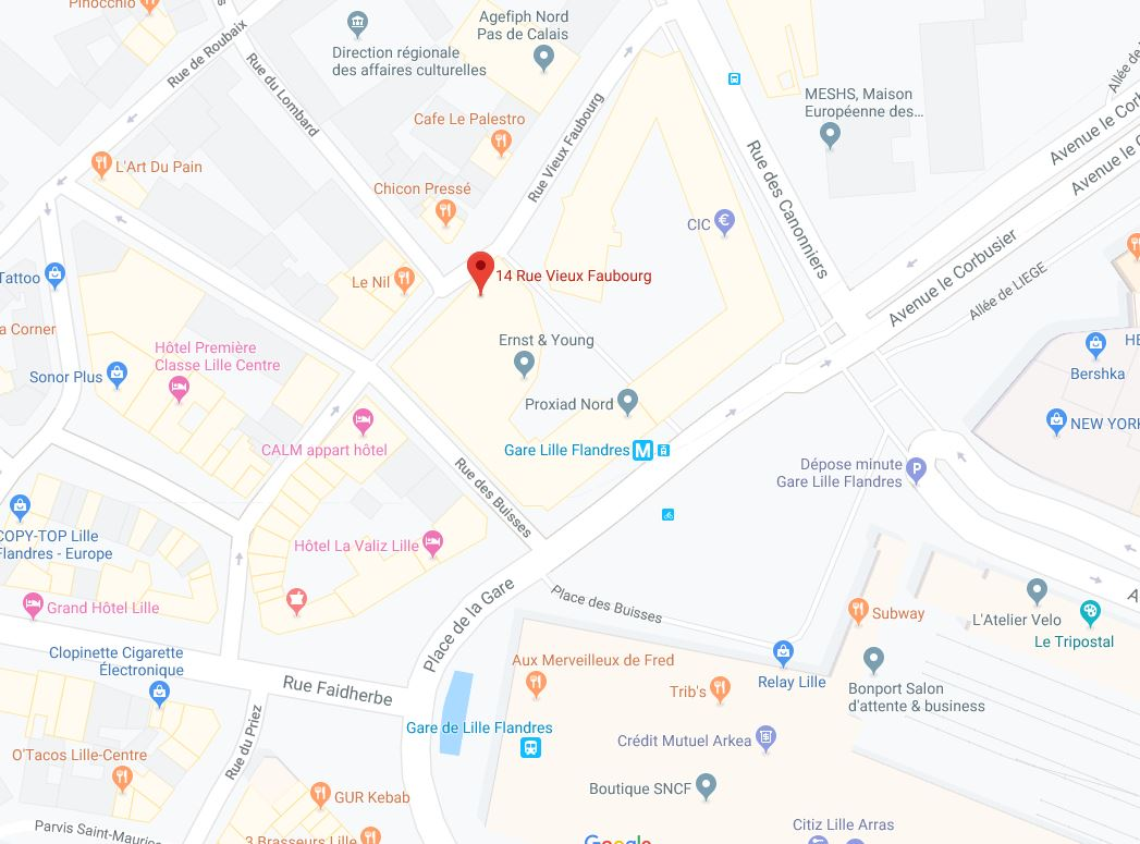 Google Map de l'agence de traduction Lille