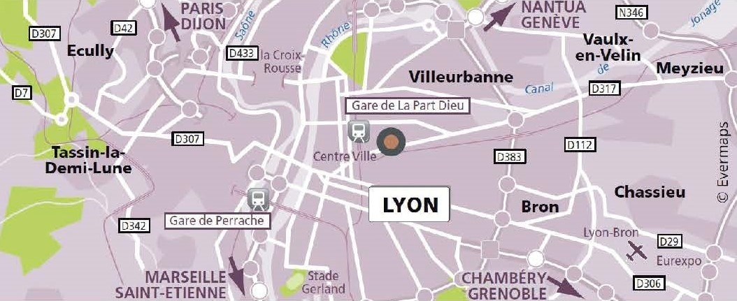 Map of the translation agency in Lyon