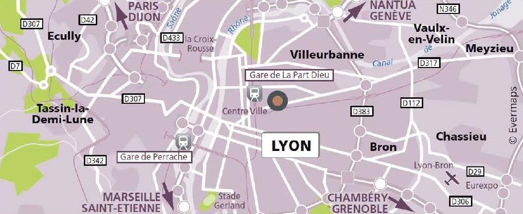Plan d'accès de l'agence de traduction Lyon