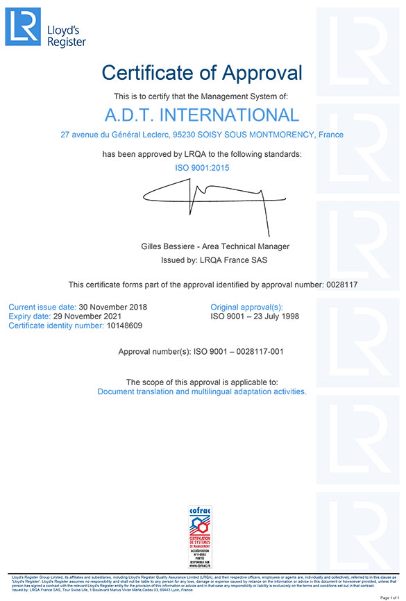 Certification ISO 9001:2018