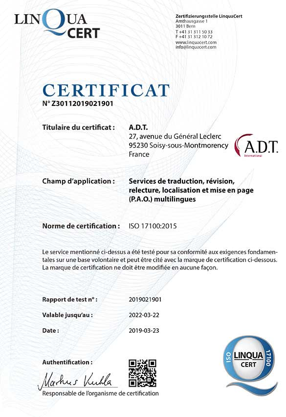 Certification ISO 17100:2015